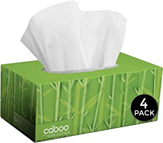 Caboo Tree Free Bamboo Facial Tissue Paper, Eco Friendly 2 Ply Tissue Flat Box - 184 Sheets Per Box, Total of 4 Boxes, 736...