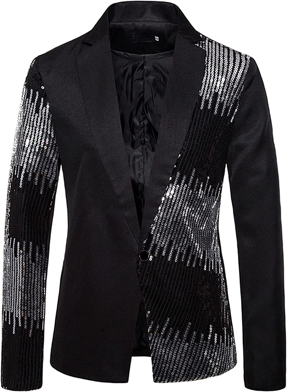 Mens Stylish Dinner Tux Dress Blazer Sequin Slim Fit Suit Jacket Stylish Blazer