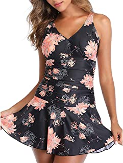 Women Plus Size One Piece Swimsuit Tankini, Ladies V-neck Floral Printed Swimdress Swimwear