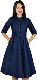 eddc118782d8 Bimba Womens Blue Denim Shirt Dress With Pockets 3 4 Sleeve Casual Midi  Dresses
