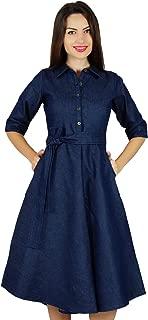 Bimba Womens Blue Denim Shirt Dress with Pockets 3/4 Sleeve Casual Midi Dresses