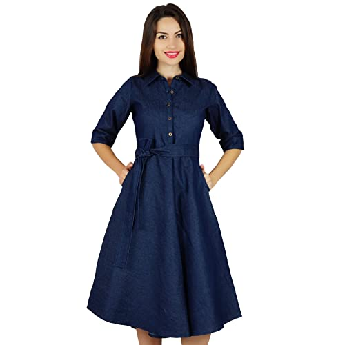 5eba2f257ed Bimba Womens Blue Denim Shirt Dress with Pockets 3 4 Sleeve Casual Midi  Dresses
