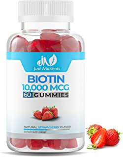 Biotin 10,000 mcg Gummies for Women & Men - 2X Extra Strength Biotin for Hair Skin & Nails - Vegan, Non-GMO - 60 Count