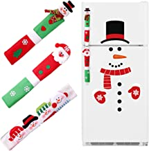jollylife Christmas Santa Claus/Snowman Handle Covers Snowman Clings Decorations - Refrigerator Oven Display Cabinet Handle Covers Kitchen Appliance Decals