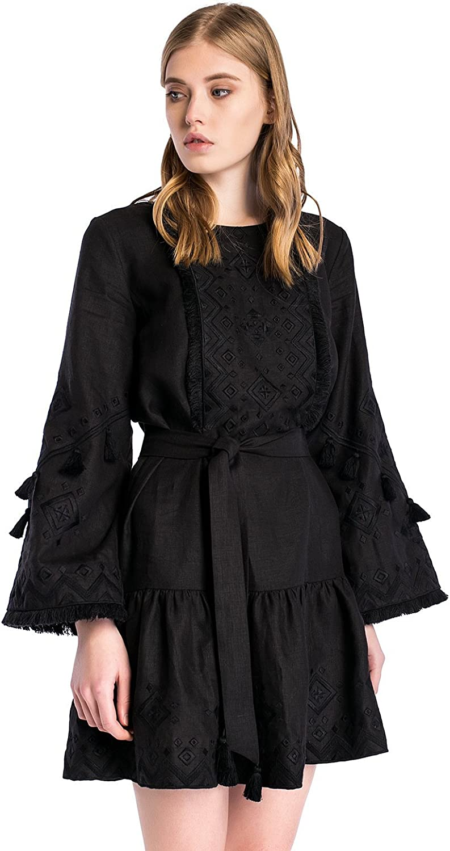 ETNODIM Woman Embroidered Linen Ukrainian Dress Vyshyvanka Ethnic Long Sleeve Red Black Dress