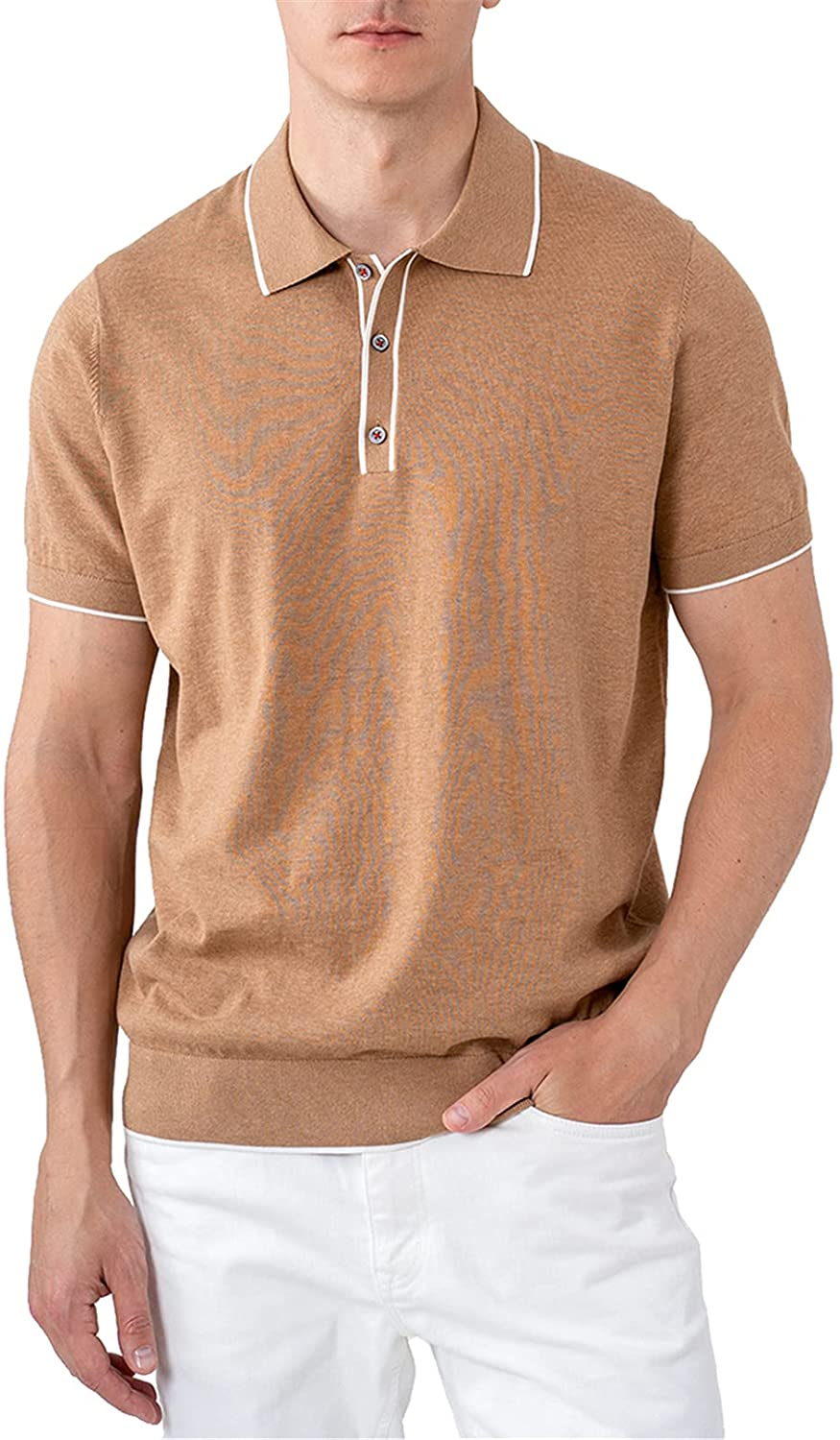 ALTAIREGA Mens-Polo-Shirt Max 43% OFF Spasm price Short-Sleeve-Golf-Tops Knit-Pullover -