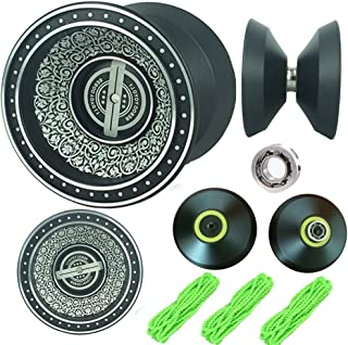 TPMDWX YOYO Professional, Newest Design Black with Silver Acid Aluminum Alloy High Speed Professional Unresponsive Yoyo Balls,Ball Bearing Trick Yo-yo,Pro yoyo (Black) (Black)