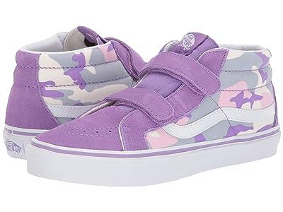 Vans Kids SK8-Mid Reissue V (Little Kid/Big Kid) ((Pastel Camo) Fairy Wren/Marshmallow) Girls Shoes