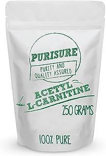 Purisure Acetyl L-Carnitine (ALCAR) Powder 250g (500 Servings) Nootropic Cognitive Enhancer Improved Memory Mood Support I...