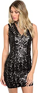 Imaginary Diva Sexy Black Sequins Sparkle Glitzy Party Cocktail Fitted Party Dress