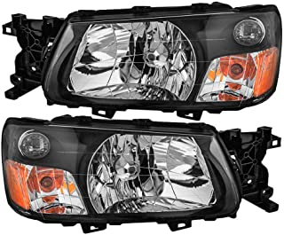 Epic Lighting OE Fitment Replacement Headlights Assemblies for 2003-2004 Subaru Forester [SU2502111 SU2503111 84001SA030 84001SA020] Left Driver & Right Passenger Sides Pair