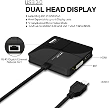 Wavlink Universial USB 3.0 Dual-Head Mini Docking Multi-Display HDMI/VGA with Gigabit Ethernet, USB 3.0 Port, Removable Card Reader, HDMI up to 2560x1440 and VGA 1920x1200 Supports Windows
