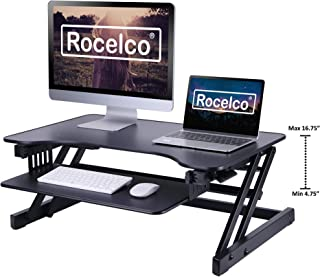 Rocelco 32� Height Adjustable Standing Desk Converter | Quick Sit Stand Up Dual Monitor Riser | Gas Spring Assist Tabletop Computer Workstation | Large Retractable Keyboard Tray | Black (R ADRB)