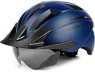 SUNRIMOON Casco de Ciclismo con Gafas Magnéticas y Visera Desmontable y Luz de Seguridad Recargable, Casco de Bicicleta de...