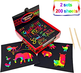 Rainbow Scratch Art Notes Papers 200 Sheets, 2 Sets Arts and Crafts with 2 Stylus and 2 Drawing Stencils for Kids Party Favors Supplies and Christmas Stocking Stuffers