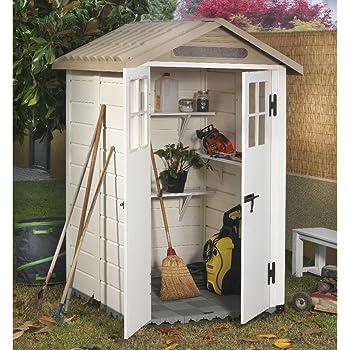 Tuscany EVO-120 - Caseta de PVC color beige para guardar las herramientas del jardín: Amazon.es: Jardín
