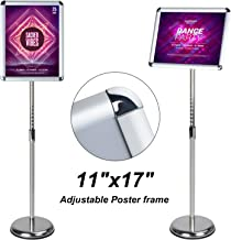 AkTop Adjustable Poster Sign Stand, 11 X 17 Inch Heavy Duty Pedestal Floor Standing Sign Holder, Silver Snap-Open Aluminum Frame with Safety Rounded Corner