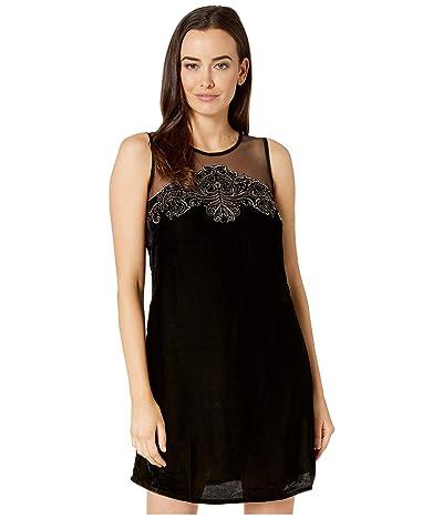 Roper 1504 Velvet Dress with Mesh Yokes (Black) Women
