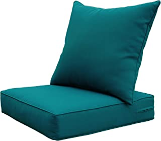 SewKer] Indoor/Outdoor Patio Deep Seat Cushion Set Teal/Peacock Blue/Green