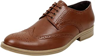SeeandWear Tan Colour Brogue Shoes for Men. Real Leather Formal Shoes with Lace.