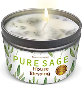 MAGNIFICENT 101 Pure SAGE Aromatherapy Candle for House Blessing - Sage Leaves, Palo Santo, Sandalwood Scented Natural Soybean Wax Tin Candle for Purification and Chakra Healing