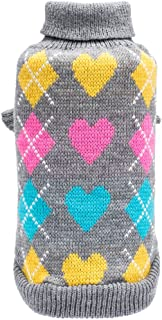 BINGPET Dog Argyle Sweater Cute Winter Pets Clothes by