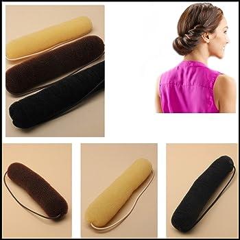 230 mm Brown Hair Bun Maker T4B LUSSONI Hair Bun Roll With Rubber Band Sponge For Bun