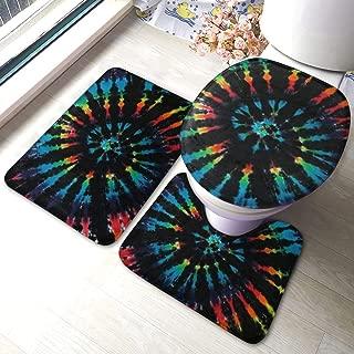 Bathroom Rug Set 3 Pieces Rainbow Colorful Tie Dye Indian Hippie Art - Non-Slip Soft Flannel Rectangular Floor Mat - U-Shaped Toilet Mat - Elongated Toilet Seat Cover