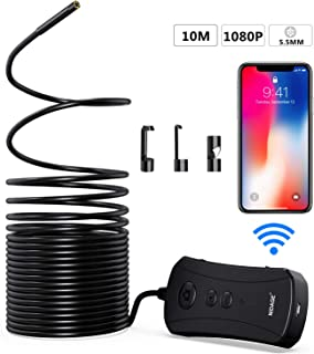 Wireless Endoscope, NIDAGE 5.5mm 2.0MP 1080P HD WiFi Borescope, 2200mAh Semi-Rigid Inspection Camera for Android & iOS Smartphone Tablet(33FT)