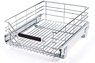 "Seville Classics UltraDurable Commercial-Grade Pull-Out Sliding Steel Wire Cabinet Organizer for Shelving with Wheels, 14"" W x 17.75"" D, Chrome"