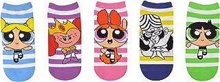 Powerpuff Girls Socks Costume (5 Pair) - (Women) Powerpuff Girls Merchandise Cosplay Low Cut Socks - Fits Shoe Size: 4-10 (Ladies)