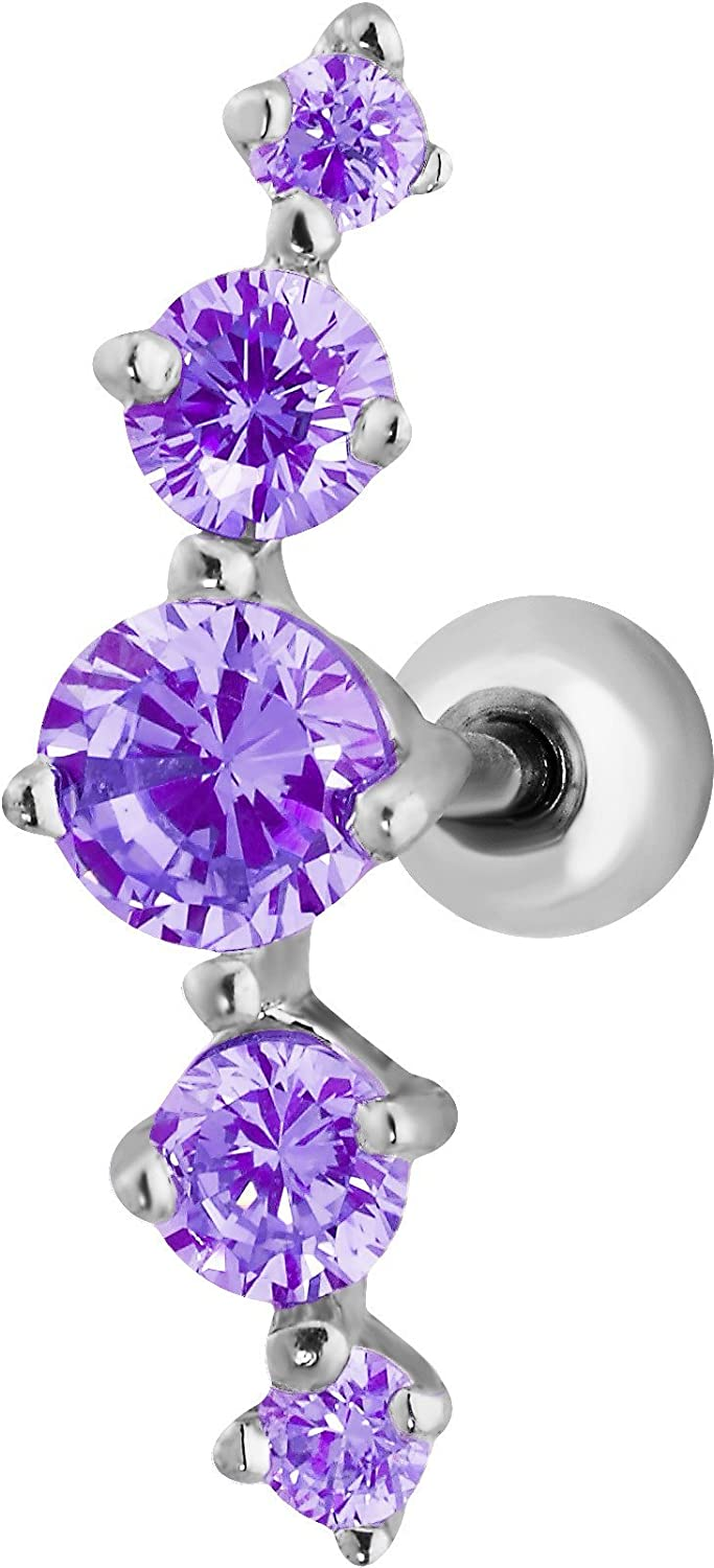 Forbidden Body Jewelry 16g 6mm Surgical Steel 5-Gem Curved CZ Crystal Cartilage Stud Earring