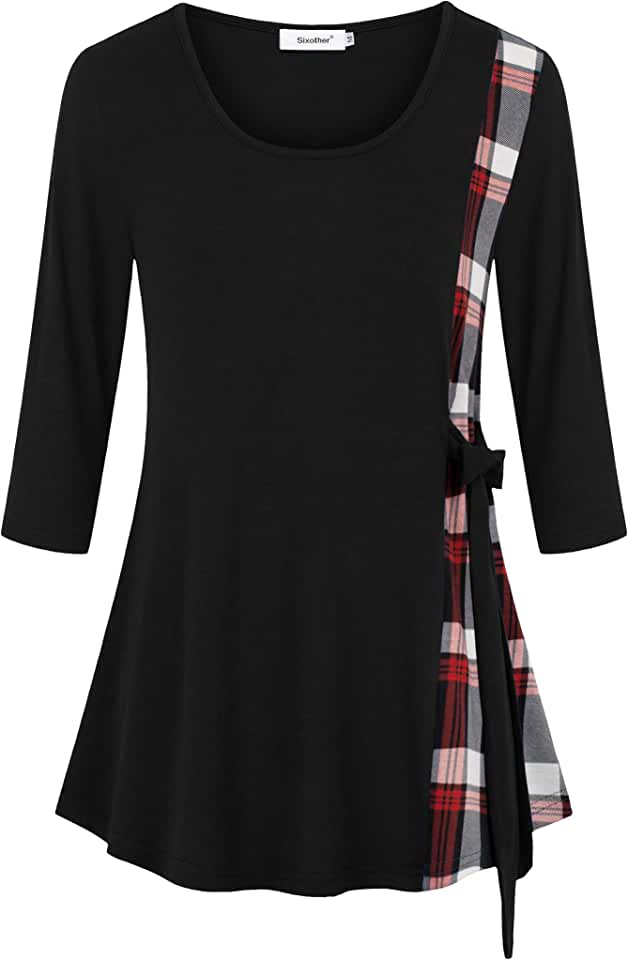 Sixother Scoop Neck Casual 3 4 Sleeve Checked Contrast Womens Tunics Bow-Knot