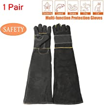 Sporting Style Animal Handling Anti-bite/scratch Gloves, Safe and Durable Gloves, Breathable Canvas Lining for Dog Cat Bird Snake Parrot Lizard Wild Animals Protection Gloves (Black)