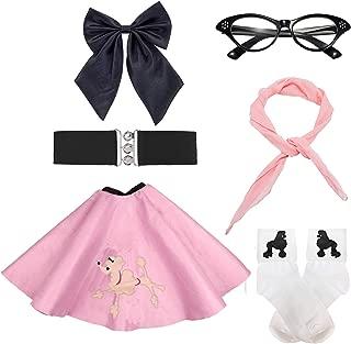 50s Girls Costume Accessory Set - Poodle Skirt,Elastic Cinch Belt,Ponytail Holders,Chiffon Scarf,Cat Eye Glasses,Bobby Socks