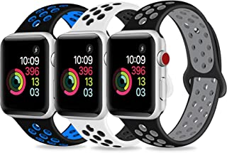 DOBSTFY Sport Band Compatible for iWatch 38 40 42 44mm,Soft Silicone Sports Band Replacement Wristband Strap Compatible for iWatch Series 5/4/3/2/1, Men/Women, 42 44mm M/L, 3 Pack