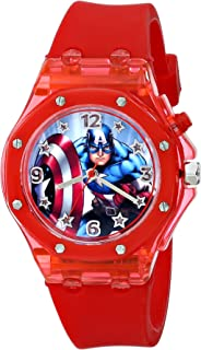 Marvel The Avengers Kids' CTA3100 Captain America Watch With Red Rubber Band