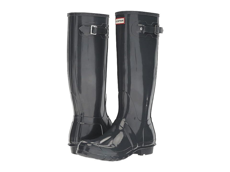 Hunter Original Tall Gloss Rain Boots (Dark Slate) Women