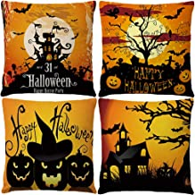 """7COLORROOM Halloween Pillow Covers Happy Halloween Castle with Pumpkin/Bat Cushion Cover Cotton Linen 4Pack Home Decorations Pillowcases 18"""" X 18"""" for Halloween Day Sofa Couch (Halloween 1)"""