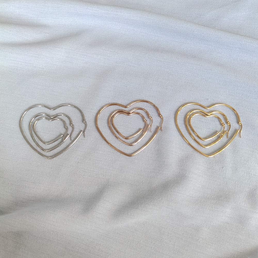 3 Pairs Hypoallergenic Stainless Steel Big Heart Shape Hoop Earrings Gold Rose Gold Set 30-60mm for Women