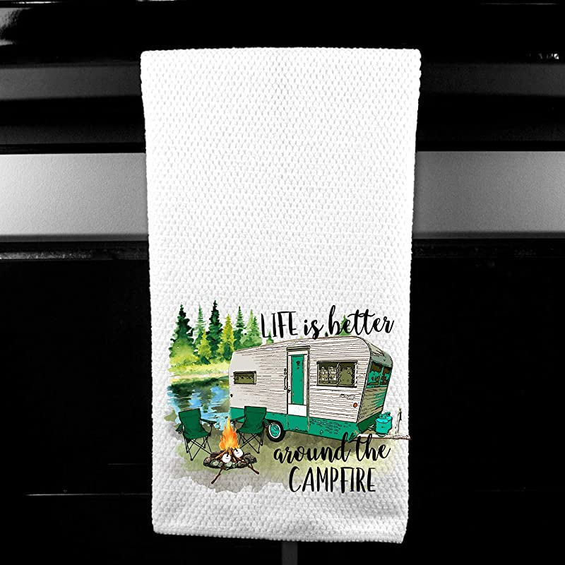Life Is Better Around The Campfire Retro Trailer Camping Microfiber Kitchen Bar Towel