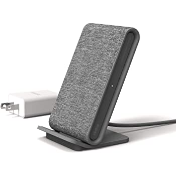 iOttie Ion Wireless Fast Charging Stand || Qi-Certified Charger 7.5W for Iphone XS Max R 8 Plus 10W for Samsung S9 Note 9 | Includes USB C Cable & AC Adapter | Ash