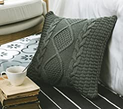 Andaa 18 x 18 Decorative Pillow Covers Double-Cable Knitted Pillow Cover Case For Home Decor Bedroom Car (Grey, Cover Only)