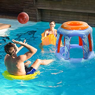 CLISPEED Inflatable Basketball Hoop with 2 Balls- Giant Floating Hoop Game Toys Set for Swimming Pool Beach Party Favors