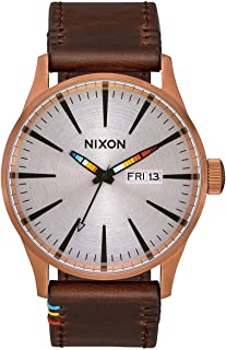 Nixon Men's A105 Sentry 42mm Stainless Steel Leather Quartz Movement Watch