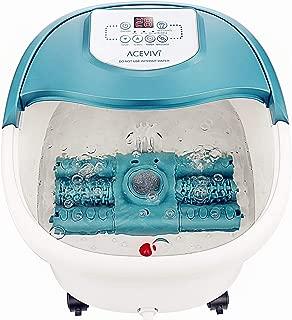 ACEVIVI Foot Spa Bath Massager with Heat, 16 Motorized Shiastu Massage Rollers, 2 Maize Massage Rollers, Foot Stone, Bubbles, Adjustable Time & Temp, Red Light, Multi-modes Pedicure Soaking Tub