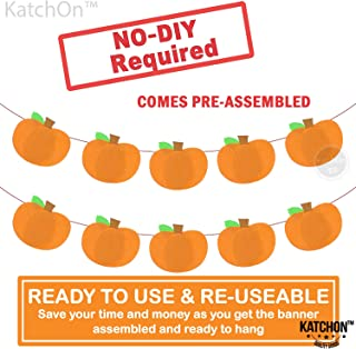 Pumpkin Felt Banner Garland, Orange – Pack of 1   Great for Fall Autumn Thanksgiving Day, Halloween, Wedding, Anniversary, New Year, Baby Shower, Home, Office Décor Supplies, Table Mantle, Fireplace