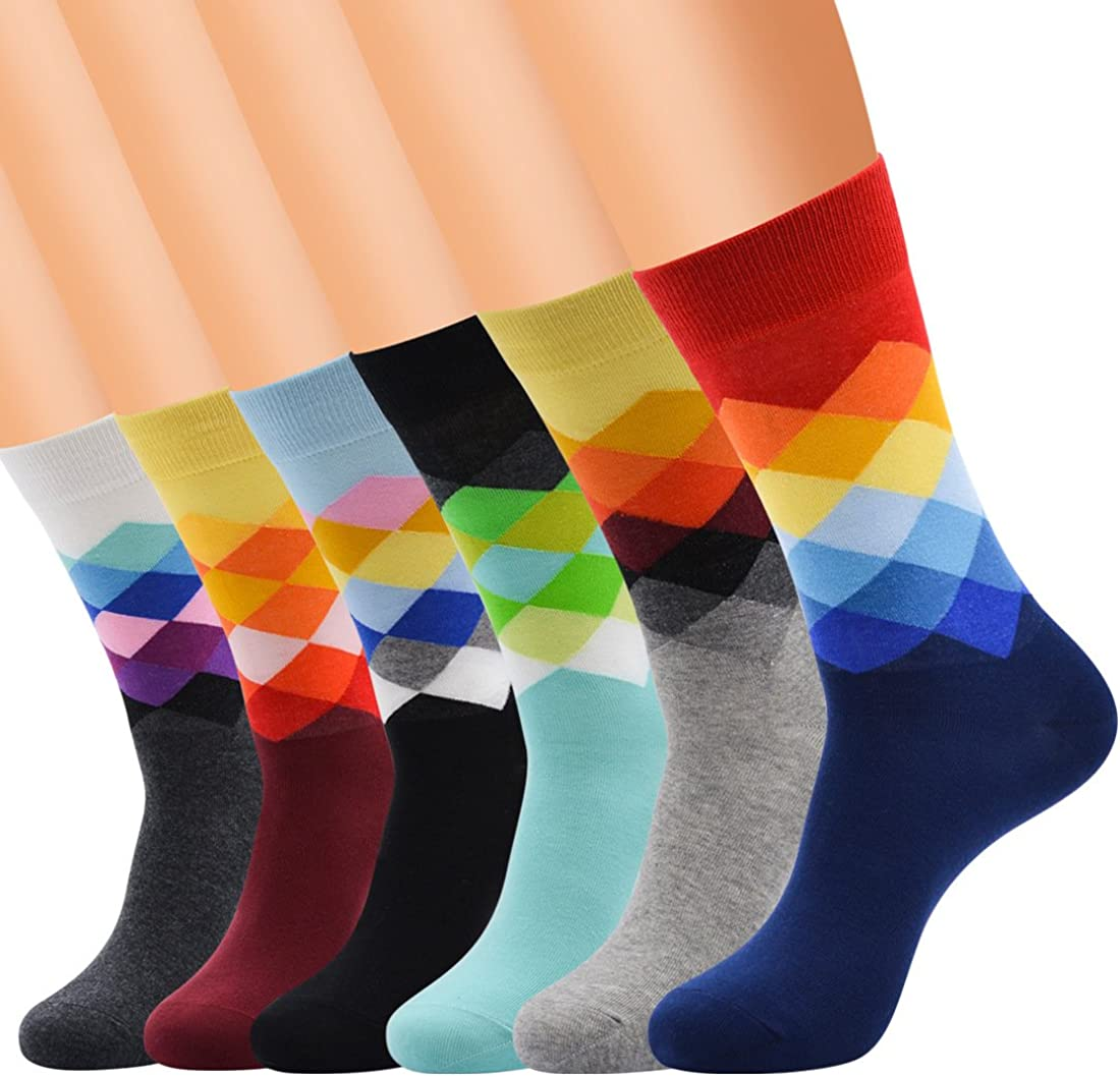 Eilin Men's Fun Dress Socks-Colorful Funny Novelty Crew Socks Pack,Funky Patterned Socks
