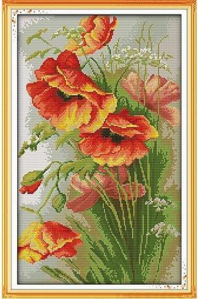 Anself Cross Stitch Set Poppy Pattern DIY Embroidery Kit for Home Decor 35 X 52cm