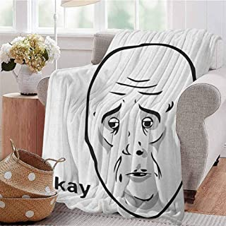 Humor Bedding Microfiber Blanket Okay Guy Famous Fun Expression with Long Face Hipster Style Online Chat Print Super Soft and Comfortable Luxury Bed Blanket W54 x L72 Inch Black and White